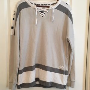 Victoria secret pink lace up hockey pullover small